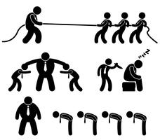 Situação de trabalhador de empregado de negócios no pictograma de ícone de local de trabalho de escritório.