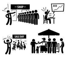 Bra Business Day Stick Figur Pictogram Ikoner.