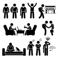 Freelancer trabalhador independente independente Stick Figure pictograma ícones. Um conjunto de pictograma humano que representa a vida de um freelancer.