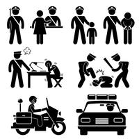 Police Station Policeman Motorcycle Car Report Interrogation Stick Figure Pictogram Icon.
