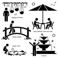 Home House Garden Outdoor Structures Armatuur Decoraties Stick Figure Pictogram Pictogram Cliparts.