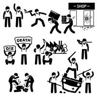 Riot Rebel Revolution Protesters Demostración Stick Figure Pictogram Icons.