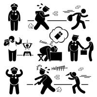 Big Fat Lazy Police Cop Stick Figure Pictogram Icon Cliparts