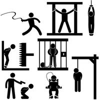 Punishment Torture Justice Death Sentence Execution Icon Symbol Sign Pictogram.
