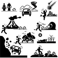 Desastres Doomsday Catastrophe Stick Figure Pictogram Icon. vector