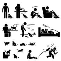 Man and Cat Relationship Pet Stick Figure Pictogram Icon.