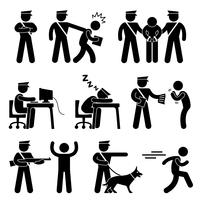 Security Guard Police Officer Thief Icon Symbol Sign Pictogram.