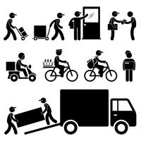 Delivery Man Postman Courier Post Stick Figure Pictogram Icon.