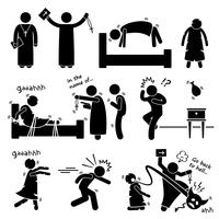 Exorcist Exorcism Evil Demon Spirit Rituale Stick Figure Pictogram Icon.
