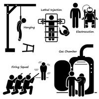 Execution Death Penalty Capital Punishment Modern Methods Stick Figure Pictogram Icons.