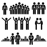 Business Businessman Group Worker Stick Figure Pictogram Icon.