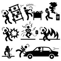 Car Accident Explosion Electrocuted Fire Danger Icon Symbol Sign Pictogram.
