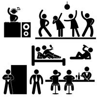 Disco Pub Night Club Bar Party Ikon Symbol Sign Pictogram.