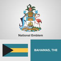 Emblema nazionale delle Bahamas, mappa e bandiera