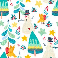 Winter seamless pattern with a Christmas forest.