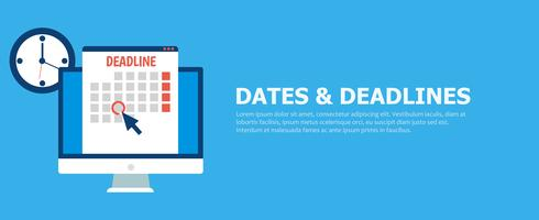Dates and Deadlines banner vector
