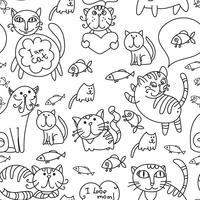 Sömlöst mönster av söta katter