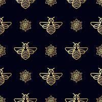 Modèle sans couture avec abeille d'or