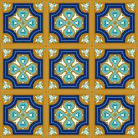 Portuguese azulejo tiles. Blue and white gorgeous seamless patte.