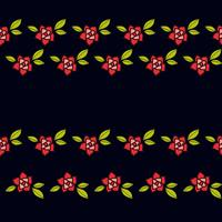 Roses in the old style tattoo. Floral pink seamless pattern on a black background