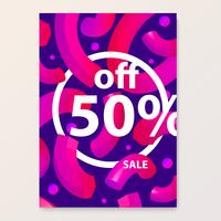 Bright poster for your sales discounts and promotions. 3d shapes