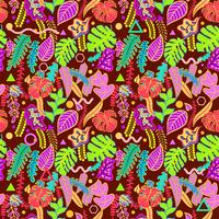 Tropical vibrant tropical leaves seamless pattern. vector