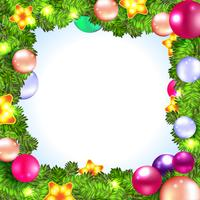 Christmas wreath with baubles and christmas tree,