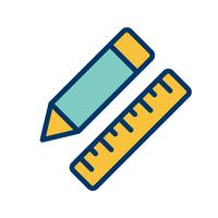 Vector Pencil & Ruler Icon