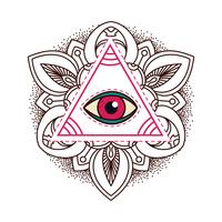 All-seeing öga pyramid symbol.