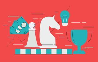 Banner de estrategia empresarial con tablero de ajedrez y figuras, taza, dinero, horario