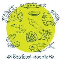 scribble series  seafood  set