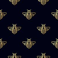Modello senza cuciture con oro Bee