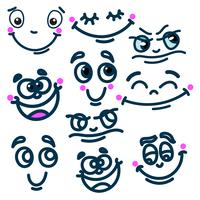 Cartoon face emotions set