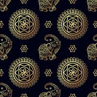 Gold elephant seamless pattern.
