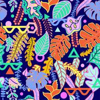 Tropical vibrant tropical leaves seamless pattern.