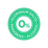 Aluminium salts, parabens and alcohol free icon.