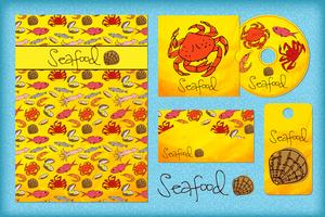 Stationery design template with seafood.
