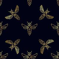 Padrão sem emenda com abelha de ouro