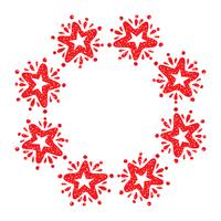 Christmas star wreath isolated on white background