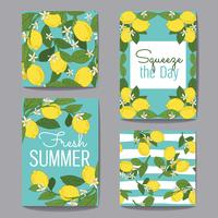 Citrus fruits greeting cards and patterns on turquoise blue set. Vector illustration