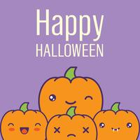 Halloween card with kawaii pumpkins. Vector illustration