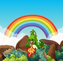 Dragón verde soplando fuego