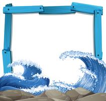 Plantilla de marco azul con fondo de olas gigantes