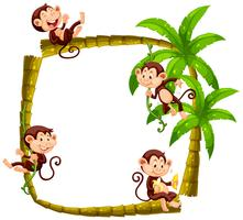 Frame design with monkeys on coconut tree