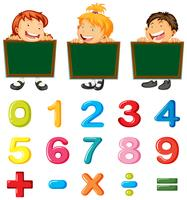 Children and numbers and signs
