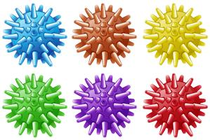 Six balls with spikes in different colors