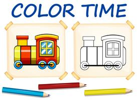 Coloring template with train