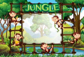Border template with monkeys in jungle