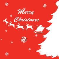 Diseño de tarjeta navideña con renos y santa.