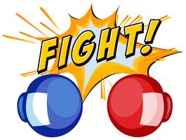 Boxing gloves and word fight on white background